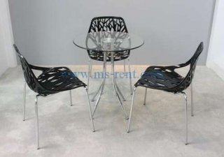ชุดโต๊ะ Daily กลมเก้าอี้ใบไม้สีดำ