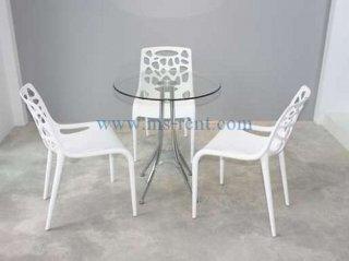 ชุดโต๊ะ Daily กลม เก้าอี้สีขาว