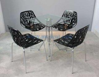 ชุดโต๊ะ Daily เหลี่ยมเก้าอี้ใบไม้สีดำ