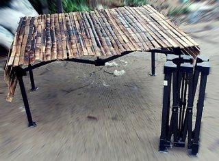 โต๊ะพับ + แผงไม้ไผ่