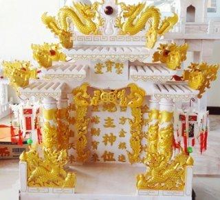 ศาลเจ้าที่ขนาด 27 นิ้ว หินสีชมพู พ่นทอง