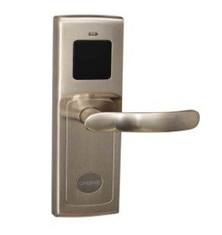 ระบบล็อคประตูโรงแรม สีเทา ด้ามจับแบน