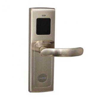 ระบบล็อคประตูโรงแรม สีเทา ด้ามจับแบนโค้งกระชับมือ