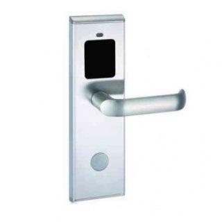 ระบบล็อคประตูโรงแรม สีเงิน ด้ามจับแบนปลายโค้ง