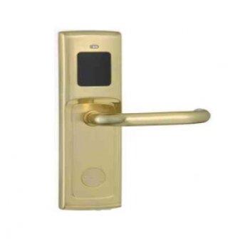 ระบบล็อคประตูโรงแรม สีทอง ด้ามจับกลมยาว