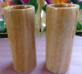 กระบอกแก้วหินหยกน้ำผึ้ง สูง 20 ซม.
