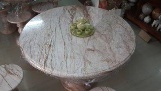 โต๊ะหินอ่อน ขนาด 120 ซม. เก้าอี้ 6 ตัว โต๊ะสูง 80 ซม. + จานหมุน 70 ซม.