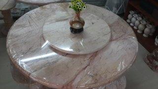 โต๊ะหินอ่อน ขนาด 130 ซม. เก้าอี้ 8 ตัว โต๊ะสูง 80 ซม. + จานหมุน 70 ซม.