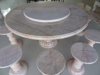 โต๊ะหินอ่อน ขนาด 140 ซม. เก้าอี้ 8 ตัว โต๊ะสูง 80 ซม. + จานหมุน 70 ซม.