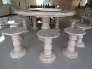 โต๊ะหินอ่อน ขนาด 150 ซม. เก้าอี้ 10 ตัว โต๊ะสูง 80 ซม. + จานหมุน 70 ซม.