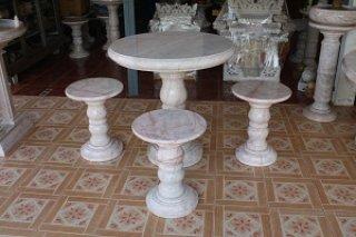 โต๊ะหินอ่อน ขนาด 90 ซม. เก้าอี้ 4 ตัว โต๊ะสูง 80 ซม.