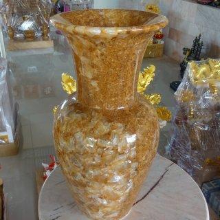แจกันหินอ่อนหยกน้ำผึ้งแก้ว สูง 40 ซม.