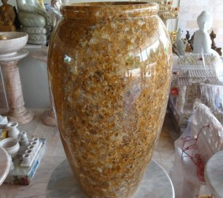 แจกันหินอ่อน หยกน้ำผึ้งแก้ว สูง 50 ซม.