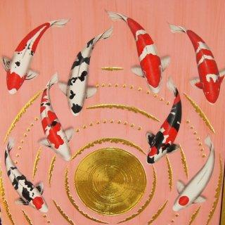 ภาพวาดปลาคราฟไหว้วนหยินหยาง พื้นชมพู