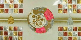 ภาพวาดแปะทองคำแท้ ใบโพธิ์เงินทอง