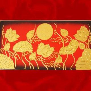 ภาพดอกบัวพื้นทอง งานปิดทองคำแท้