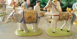 ช้างม้า ขนาดเล็ก สูง 10 ซม. กว้าง 6 ซม. คู่