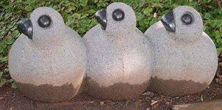 นกสามพี่น้อง แกะสลักหินอ่อน