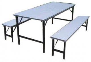 โต๊ะโรงอาหารหน้าขาว เหล็กรอบตัว