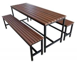 โต๊ะโรงอาหารไม้ระแนง (ไม้สยาแดง)