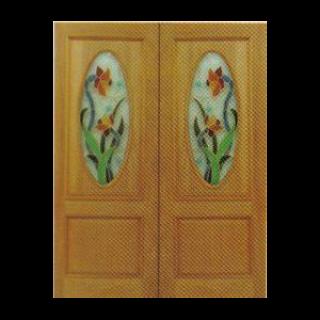 บานไม้สักคู่โค้งวงรี+กระจกนิรภัย