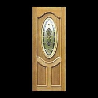 ประตูไม้สัก+กระจกนิรภัย