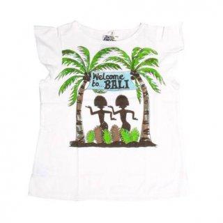 เสื้อยืดเด็กสีขาวพิมพ์ลายเกาะบาหลี
