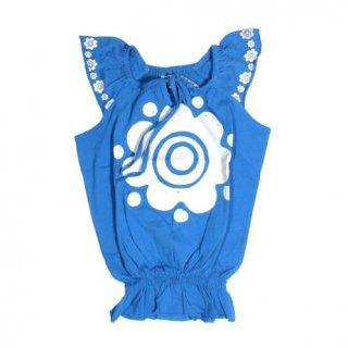 เสื้อเด็กแฟชั่นสีฟ้า พิมพ์ลายดอกไม้
