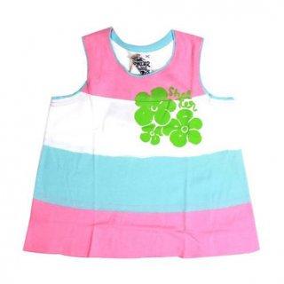เสื้อกล้ามเด็กลายขวางสีชมพู