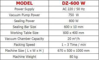 เครื่องซีลสูญญากาศแบบลิ้นดูด DZ-600W