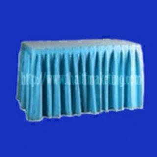 ผ้าคลุมโต๊ะจีบรอบตัวสีฟ้า