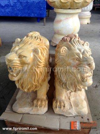 สิงโตคู่หินอ่อนสีส้ม ยาว 50 สูง 30