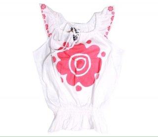 เสื้อยืดเด็ก ไซส์ 2-5 ปี สีขาวแขนกุดพิมพ์ลายดอกไม้