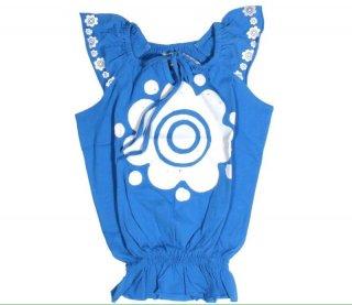 เสื้อยืดเด็ก ไซส์ 3-5 ปี สีน้ำเงินแขนกุดพิมพ์ลายสีขาว