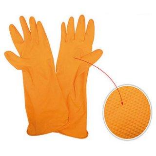 ถุงมือยางลาเท็กซ์สีส้ม