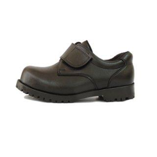 รองเท้าเซฟตี้หนังพีวีซี เมจิกเทป สีดำ