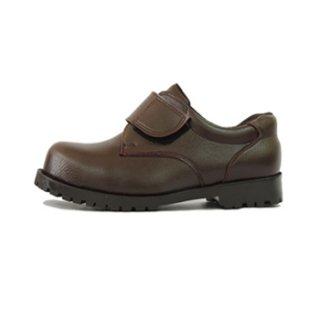 รองเท้าเซฟตี้หนังพีวีซี เมจิกเทป สีน้ำตาล