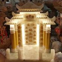 ศาลเจ้าที่หินอ่อน ทรง Modern ขนาด 24 นิ้ว หินหยกน้ำผึ้งแก้ว