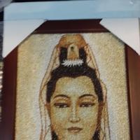 ภาพจากการเรียงเมล็ดข้าว รูปเจ้าแม่กวนอิม ขนาด A4