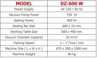 เครื่องซีลสูญญากาศแบบฝาสวิง DZ-600 W