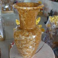แจกันหินอ่อน หยกน้ำผึ้งแก้ว ขนาดสูง 60x20 ซม.