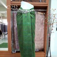 ผ้าไหมบ้าน มัดหมี่ ลายโฮล สีเขียววาว  เนื้อแน่น แน่น