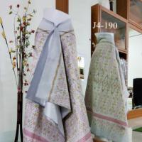 ผ้าไหม 3 ตะกอ พื้นสีเทามุก ลายโคมตัดเหลี่ยม  + ผ้าพื้น