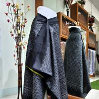 ผ้าไหม 3 ตะกอ พื้นดำ ลายโข่ขาวต่อ  + ผ้าพื้น