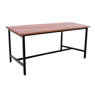 โต๊ะโรงอาหารไม้ระแนง ขาเหล็ก 1.2 นิ้ว โต๊ะเดี่ยว