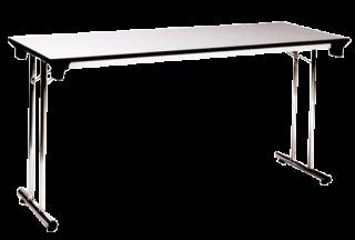 โต๊ะพับขาเหล็กคู่ หน้าฟอเมก้าขาว/เมลามีน 25 มม.