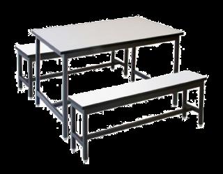 โต๊ะโรงอาหารไม้ปาติเกิ้ล หน้าฟอเมก้าขาว