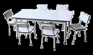 โต๊ะอนุบาลหน้าโฟเมก้าขาวเงา พร้อมเก้าอี้