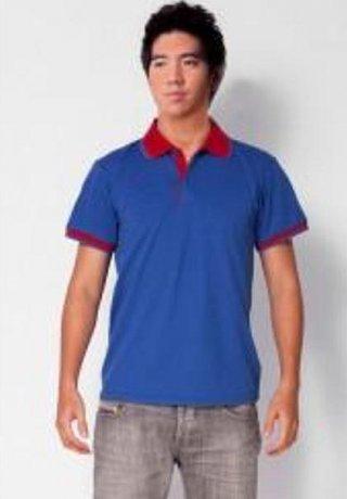 แบบเสื้อโปโลสีน้ำเงินแถบแดง