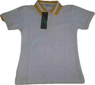 แบบเสื้อโปโลสีเทาปกเหลืองขาว